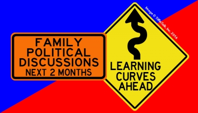 Family Political Discussions Ahead Road Sign